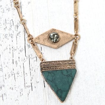 LA Hearts Green Stone Short Necklace - Womens Jewelry - Gold - One
