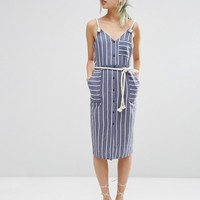ASOS Sundress in Stripe Print with Rope Straps