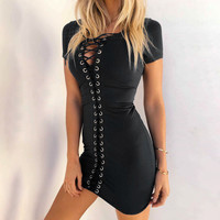 Women's Fashion Summer Hollow Out Slim One Piece Dress [11577849359]