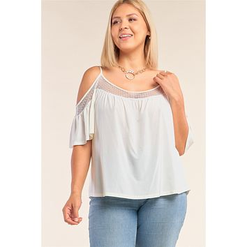 Plus Size Ivory Relaxed Fit Off-the-shoulder Polka Dot Mesh Hem Babydoll Top
