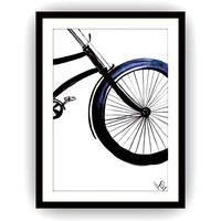 Bicycle silhouette, Printable boy room Wall decor, decals, travel painting, bohemian, vintage watercolor illustration, wheels modern retro