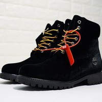 YYY Virgil Abloh OFF-WHITE x Timberland Velvet Hiking Boots Black