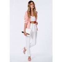 Missguided - Marianka White Zip Front Cigarette Trousers