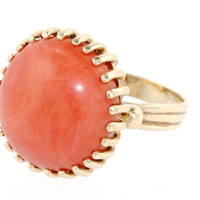 Coral Ring 14k Yellow Gold