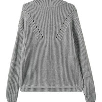 Grey Long Sleeve Turtleneck Knitted Sweater with Cut-Outs