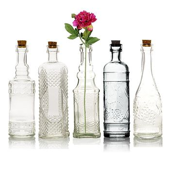 Bohemian Chic Clear Vintage Glass Bottles Set - (5 Pack, Assorted Designs)