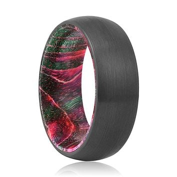 ROBINSON Tungsten Black Domed with Green and Red Box Elder Inside Wood Ring.