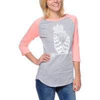 A-Lab Girls Tribe Owl Glow In The Dark Coral Baseball Tee Shirt at Zumiez : PDP