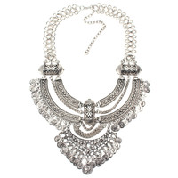 2016 fashion Boho necklace Crystal Inlaid Carving Jewelry Vintage Necklaces metal chain choker coin pendant statement Necklaces