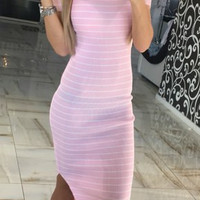 Slim Striped Slit Dress