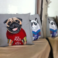 Handmade home pillow. Pillow handpainted gift. Hypoallergenic pillow. Pug-dog pillow. 40x40 linen cushion White Three Snails. Free Shipping!