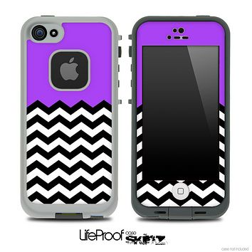 Solid Color Purple and Chevron Pattern Skin for the iPhone 5 or 4/4s LifeProof Case