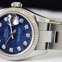 ROLEX Ladies WG & SS Diamond SodaLite DateJust 179174 SANT BLANC