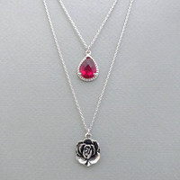 Double, Layered, Rose, Pink, Glass, Rose, Flower, Silver, Necklaces, Belle, The beauty and the beast, Flower, Necklace, Multi strand, Gift