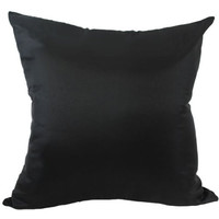 That's Perfect! Solid Color Decorative Silk Throw Pillow Sham - Fits 18' x 18' Insert (Black)