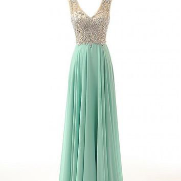 Changjie Women's V-Neck Long Chiffon Beading Formal Evening Prom Dresses CJ29