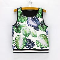 3D Leaf Pattern Crop Top