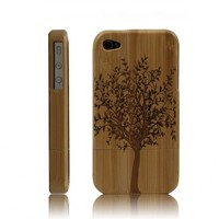 Handmade Carved Bamboo iPhone 4 & 4s Cases- A Big Tree-dark