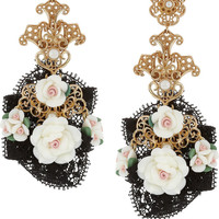 Dolce & Gabbana | Gold-tone resin flower clip earrings | NET-A-PORTER.COM