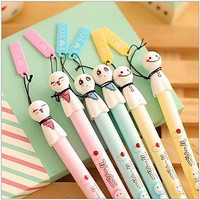 BuW Japanese Doll Ornament Black Ink Gel Pen(1 PCS Random Color) , cute creative Stationery and office supplies