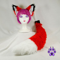 Pawstar FOX YIP Ear & Tail COMBO Big Full Sized You Pic Color Wolf Kitty Cat Anime Cosplay Costime Black White Red Classic Dark Maroon 4001