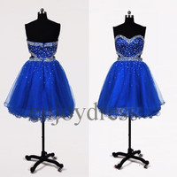 Custom Royal Blue Beaded Long Prom Dresses Formal Evening Gowns Wedding Party Dresses Party Dresses Bridesmaid Dresses 2014 Cocktail Dress
