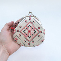 Folk hand embroidered coin purse |  Red metal frame purse | Ethnic Ukrainian embroidery | Apple red pouch | Linen embroidered cosmetic purse
