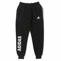 Adidas Fashion New Letter Print Women Men Sports Leisure Pants Black