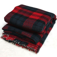 Red Plaid Fringed Scarf