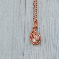 Pearl Pendant Necklace Bridesmaid Jewelry wirewrapped