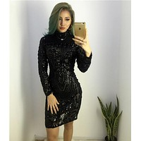 2016 Autumn Winter Elegant Sequined Dress Women Black Bodycon Dress Long Sleeve Lady Evening Party Sequin mini Dress Vestidos