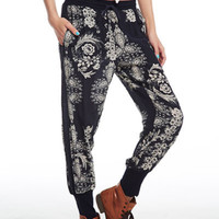 Chaser Silk Navy Floral Slouchy Jogger Pant