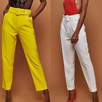 2020 New Products Women's High Waist Pure Color Cropped Pants Straight Leg Pants