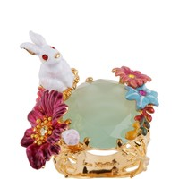 Les Néréides FANTASY GARDEN RABBIT AND STONE AND FLOWER RING