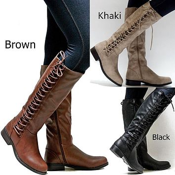 Woman's Lace Up Tall Knight Boots Shoes