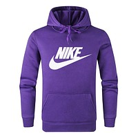 Nike Fashion Women Men Casual Print Long Sleeve Hoodie Sweater Pullover Top Sweatshirt Purple