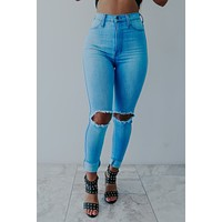 When The Day Is Gone Jeans: Light Denim