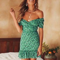 Sexy Off Shoulder Women Dress Ruffles Bodycon Dresses Beach Casual Dress