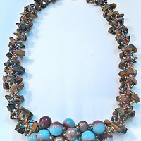 Brown and Baby Blue Beadwork Necklace-Brown, Copper, Metallic and Variety Colored Seed Bead Patterned Bracelet-Spiral Rope Design Necklace