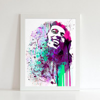 Bob Marley watercolor illustration art print, Bob Marley art,home decor, music art, Bob Marley Painting, Fan art,Home Decor