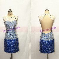 Short sparkly prom dresses with rhinestines,2014 sexy women gowns for homecoming party,cheap chic  holiday prom dresses under 200.