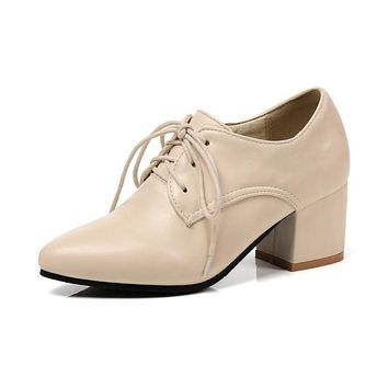 Lace Up Women Chunky Medium Heel Shoes Woman