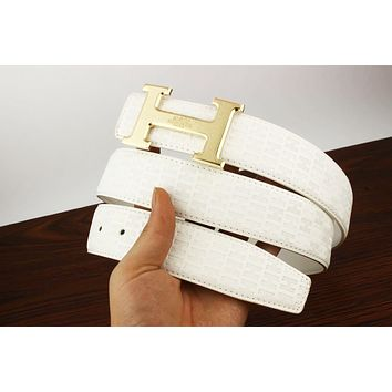 Hermes Fashion Men Woman Smooth Buckle Leather Belt