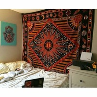 Multicolor Celestial Sun Moon & Planets tapestry Tapestry Wall Hanging Throw Bedspread Bedding - RoyalFurnish.com