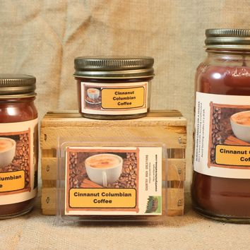 Cinnanut Columbian Coffee Candle and Wax Melts, Beverage Scent Candle, Highly Scented Candles and Wax Tarts, Coffee Lover Gift, Gift For Mom