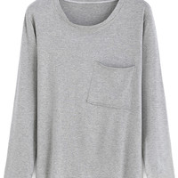 Grey Long Sleeve Pocket T-Shirt