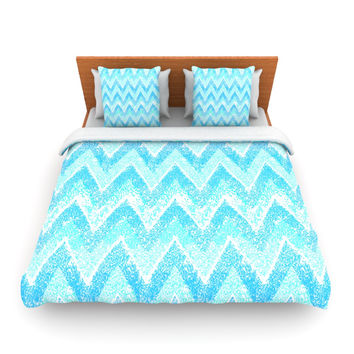 "Marianna Tankelevich ""Mint Snow Chevron"" Blue Chevron Lightweight Duvet Cover"