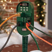 6 Outlet Digital Multi-Function Outdoor Programmable Timer For Holiday Lights