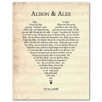 Any song lyrics - Customized Wedding Anniversary Gift - Wedding Song First Dance Song Wedding Vows Poetry - Heart typography Word Art Print