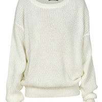 Plain Chunky Knit Oversized Fisherman Jumper in Cream